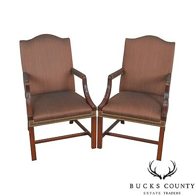 Hickory Chair Chippendale Style Mahogany Pair of Library Arm Chairs