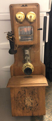 Antique Original  Chicago Supply Co. Double Box Wall Crank Telephone