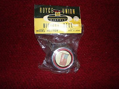 Vintage NOS Royce Union Bicycle Bell American Flag Super Rare Sealed in Package