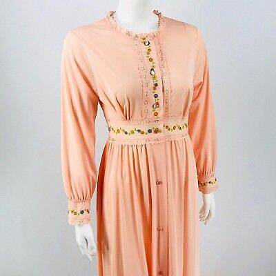 Vintage Gilead Nightgown Womens Sz Small Peach Floral Embroidered Lace LS Button