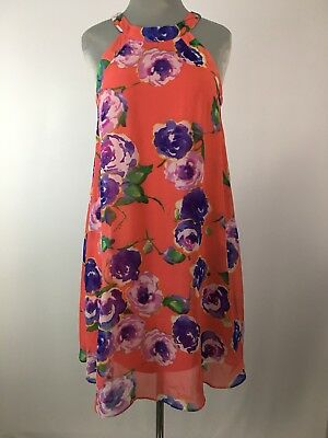 093031a68369 Betsey Johnson Floral Chiffon Halter Dress Size 4 Womens Coral & Purple