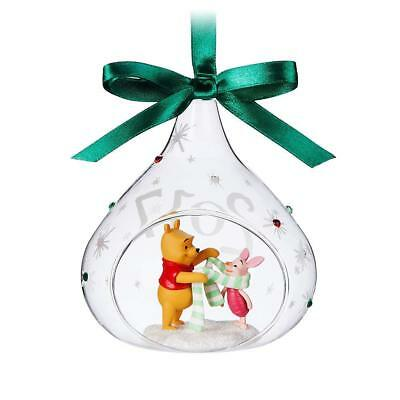Disney Store  Winnie the Pooh and Piglet Glass Drop Sketchbook Ornament - 2017
