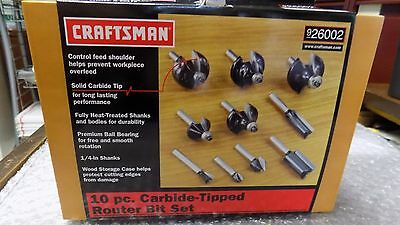 New In Box Seal Craftsman 10-Pc. Router Bit Set Carbide-Tipped 26002