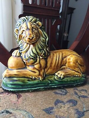 """8"""" LENGTH REGAL CERAMIC LION IN MAJOLLICA STYLE.SHADES OF GREENS &GOLDS.Paw Ball"""