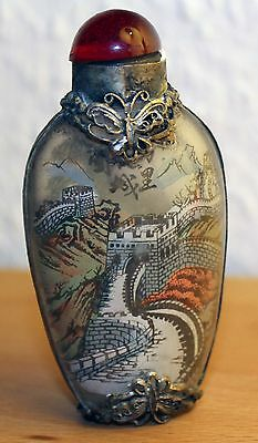 China Snuff Bottle Schnupftabak Flasche Glas chinese 20. Jh. Hinterglas Malerei