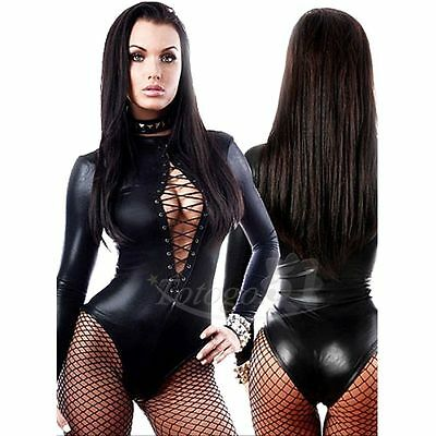 Sexy Women Lace up Faux Leather Bodysuit Leotard Teddy Lingerie Nightclub Outfit