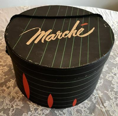 """Vintage - Marche Round Hat Box 10 5/8"""" x 5 5/8"""" -Logo on Lid & Bottom - Repaired"""