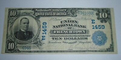 $10 1902 Frenchtown New Jersey NJ National Currency Bank Note Bill! Ch #1459 VF+