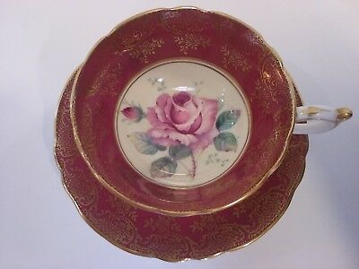 Vintage Paragon Double Queen Warrant Pink Rose Maroon Gold Teacup & Saucer