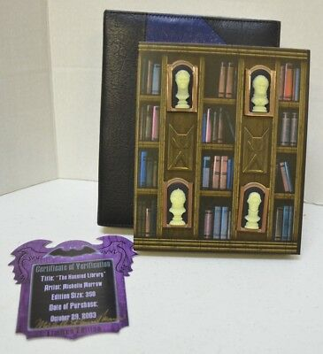 Disney WDW Haunted Mansion Library 4 Pin Bust Set 999 Happy Haunts LE Signed