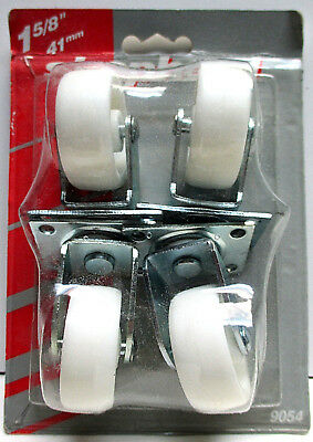 """Lot of 4 - Roller Casters 1 5/8"""" Plate White Wheels - NIP - FREE SHIPPING!!!"""