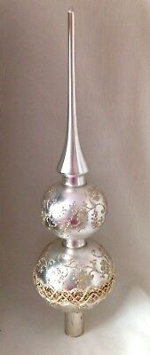 Krebs Glas Lauscha Germany Blown Hand Crafted Silver Glitter Xmas Tree Topper