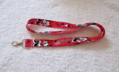 New Disney MINNIE MOUSE LANYARD Red Black & White