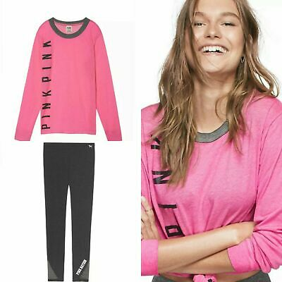 ♡ NEW! Victoria's Secret PINK Black Bling Logo Tee & Ultimate Legging Outfit S ♡