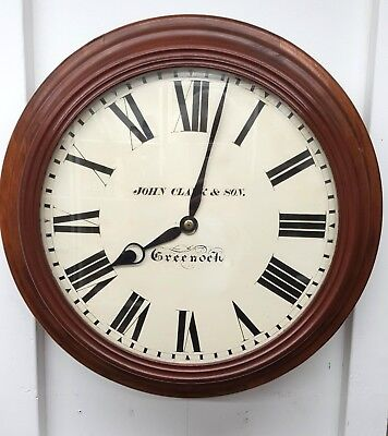 16 inch dial Fusee mahogany wall timepiece clock good working order