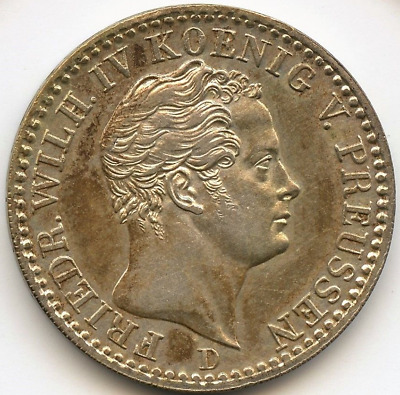 Prussia 1/6 Thaler 1841 Unc Silver Coin Germany German State Uncirculated Rare