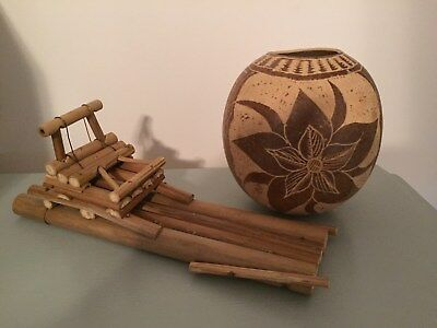 Jamaican Hand Carved/Hand Made Coconut Art Sculpture & Bamboo Raft- Authentic