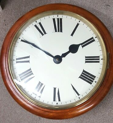 18 inch dial Fusee mahogany gallery wall timepiece clock good working order