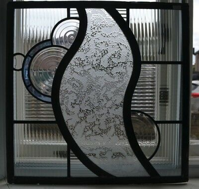 Contemporary British leaded light stained glass window panel. R846