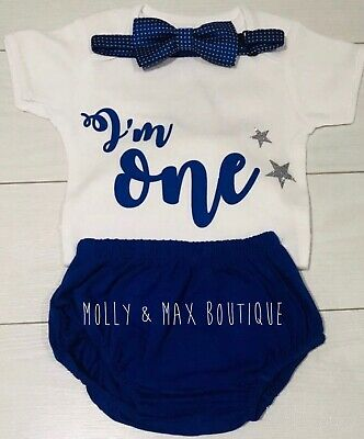 Baby Boys First 1st Birthday Outfit Cake Smash Set Shorts Top Bow Tie Blue