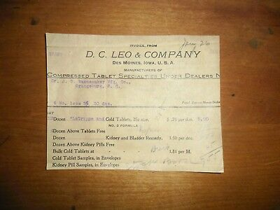 1911 Pharmaceutical Invoice DC Leo & Company Des Moines Iowa Compressed Tablets