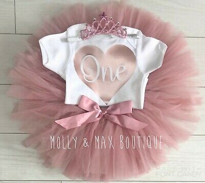 Baby Girls 1st First Birthday Outfit Cake Smash Pink Tutu Skirt Vest Tiara Set
