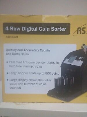 Royal Sovereign Auto Digital Coin Sorter 4 Row Counting FS-44P Anti-Jam
