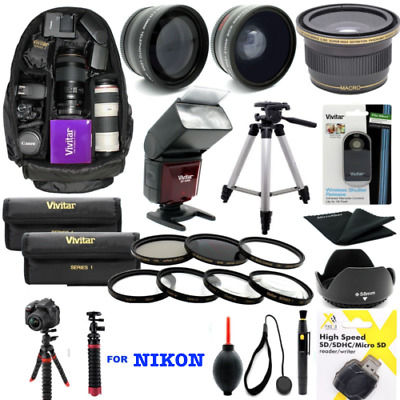 Nikon D3500 8K Premium Hd Accessory Kit Flash Lenses Backpack Tripod Zoom Lens