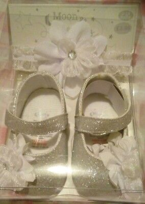 BNIB 0-12 Months Baby Girl Silver Glitter Shoes & Headband Gift Set Christmas