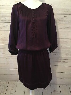 cbfde97264cd Massimo Dutti Women s Dress 100% Silk Button Down Long Sleeve Wine Sz 40 30