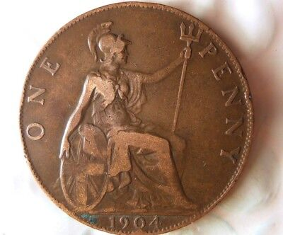 1904 GREAT BRITAIN PENNY - Excellent Edward VII Coin -Free Ship - Britain Bin #B