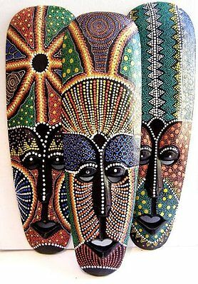 Dot Painted aboriginal style wooden mask 50cm