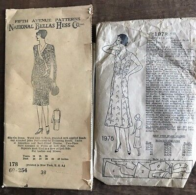 Lot of 2 - Vintage 1920s Women's Sewing Patterns - Dresses