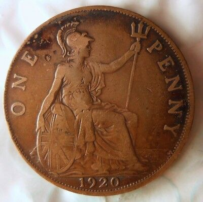 1920 GREAT BRITAIN PENNY - Excellent Vintage Coin -Free Ship - Britain Bin #B