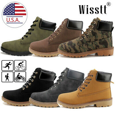 Men's Martin Boots Outdoor Waterproof Leather Lace up Casual Ankle Shoes Size 10