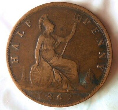 1862 GREAT BRITAIN 1/2 PENNY- Excellent Vintage Coin -Free Ship - Britain Bin #B