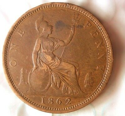 1862 GREAT BRITAIN PENNY- Excellent Vintage Coin -Free Ship - Britain Bin #B