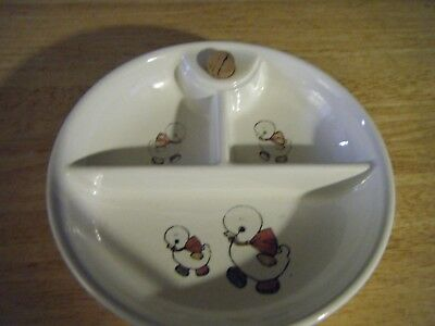 Vintage 1950's Ceramic Divided Baby Food Warming Dish  Little Duckies