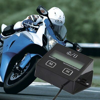 Digital Engine Tach Tachometer Hour Meter Inductive for Motorcycle Motor  SN