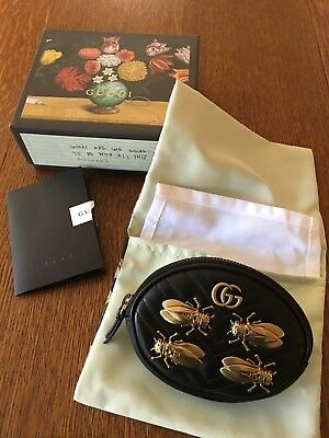 a250f641ac79 NWT GUCCI GG Marmont Animal Studs Wrist Pouch Oval Coin Purse Wristlet  Insects