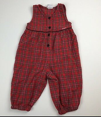 Vtg Baby B'gosh Christmas Holiday Flannel One-piece Romper Jumpsuit Sz 18 mnths