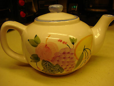 Vintage Tea Pot With Lid Hand Painted Fruits China Pottery 2 Sided Decor