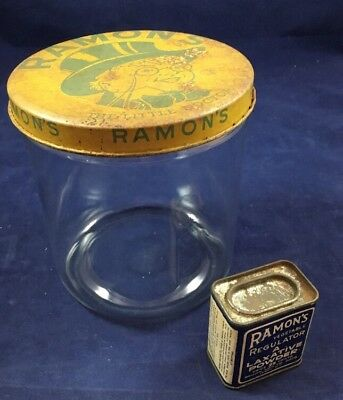 Vintage RAMON'S Little Doctor Medicine Apothecary Counter Display Jar with tin