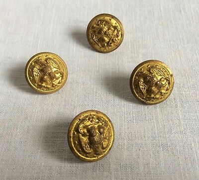 4 VINTAGE WATERBURY Button Company Metal Military Buttons Round Eagle 7/8
