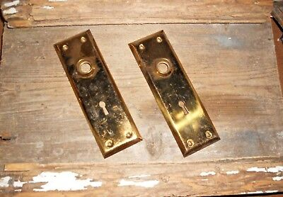Vtg Lightly Aged Heavy Brass Steampunk Antique Door Knob Back Plates Art/crafts