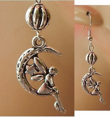 Fairy Earrings Moon Charm Drop Dangle Silver Handmade Jewelry Accessories Women