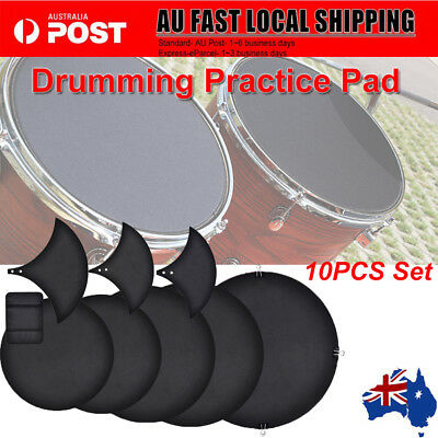 10Pcs Mute Silencer Drumming Practice Pad Bass Snare Drums Sound off/ Quiet AU