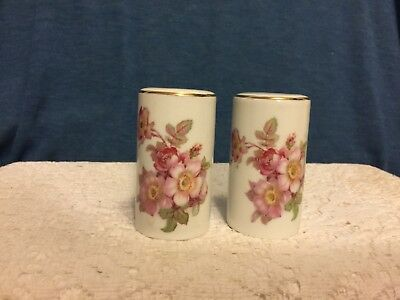 Antique German Porcelain Salt And Pepper Shakers Pink Floral Motif