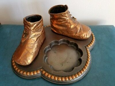 Antique 1920 Vintage Metal Bronze Baby Shoes Booties Ashtray Jewelry tray