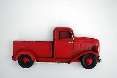 Vintage Red Metal Truck Rustic Wall Hanging Antique Chevy Christmas Truck